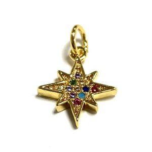 GOLD CHARM STAR TOP QUALITY 13X11MM