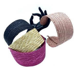 FLAT NATURAL STRAW HEADBAND COLOURS