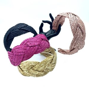 NATURAL BRAIDED STRAW HEADBAND COLOURS