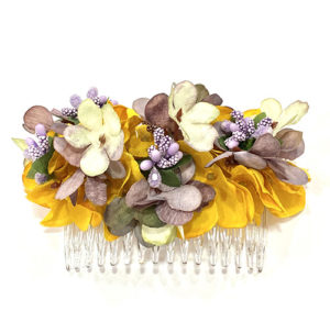 LILAC AND IVORY MUSTARD FLOWERS COMB