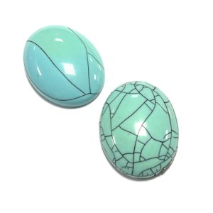 TURQUOISE OVAL HALF PEARL 40X30MM